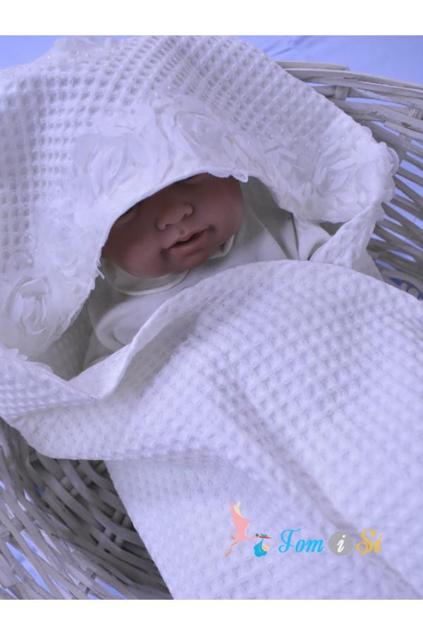 Полотенце вафельное Белые розы