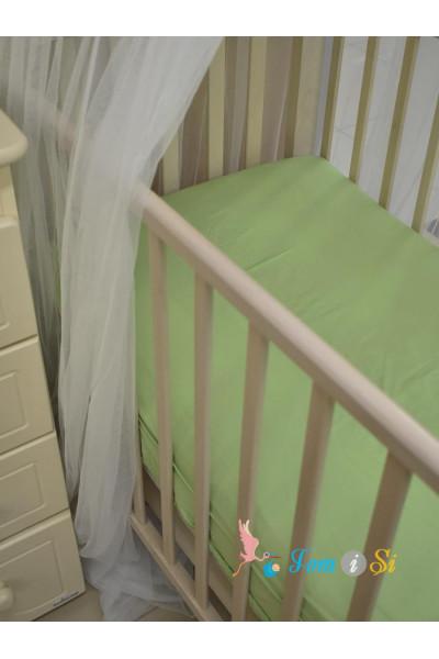 Простынь на резинке зеленая сатин
